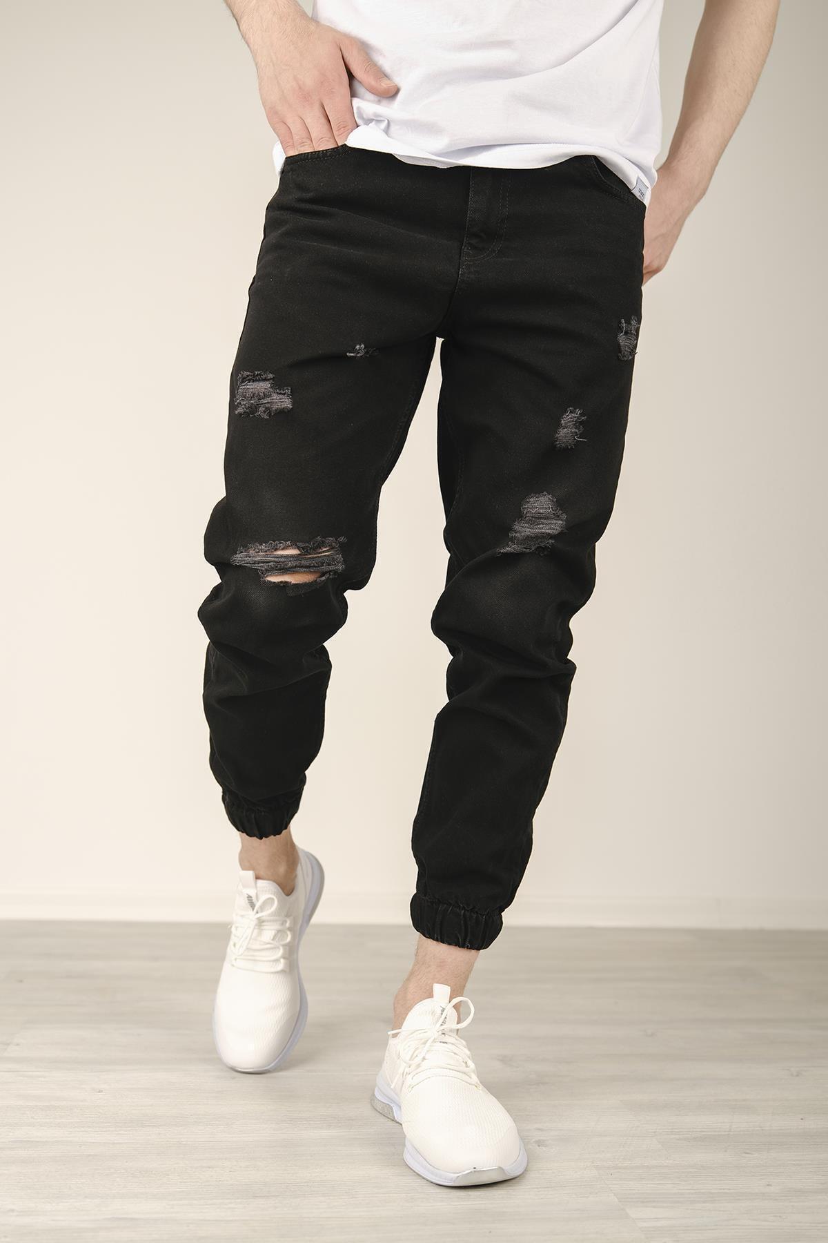 Reax 7001 Paçası Lastikli Yırtıklı Slim Fit Erkek Jean Pantolon