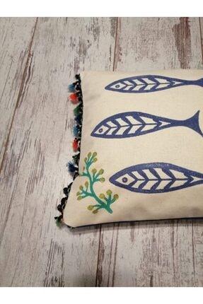 heybelioda Keten Marin Deniz Temalı Balık Desen Kalıp Baskı El Boyama Dekoratif Yastık Kırlent Kılıfı 3