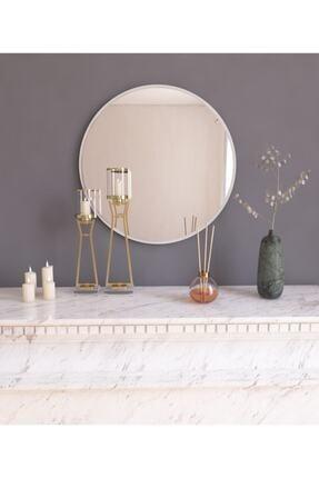 MONEayna Dekoratif Yuvarlak Ayna Beyaz Antre Hol Koridor Duvar Salon Mutfak Banyo Wc Ofis Aynası 2