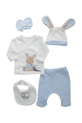 Nonna Baby Pofuduk Kulaklı Tavşanlı Erkek Bebek 5 Li Hastane Çıkışı 0