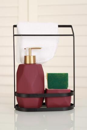 ACAR Bordo Belly Seramik Metal Stand Süngerli Mat Sıvı Sabunluk 0