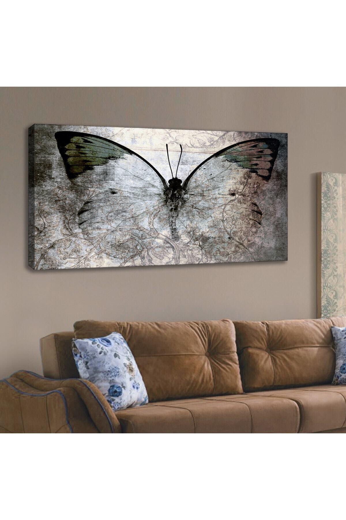 Kanvas Tablo Kelebekli Duvar Dekorasyon Moda Tablo 60x120 Cm