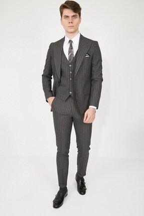 تصویر از Antrasit Geniş Yaka Puntolu Plus Yelekli Erkek Takım Elbise - Slım Fıt