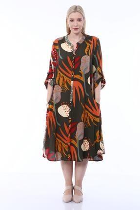 Shine - Akay Kadın Tam Düğmeli Koton Viskon Büyük Beden Haki Elbise HMR03K7024