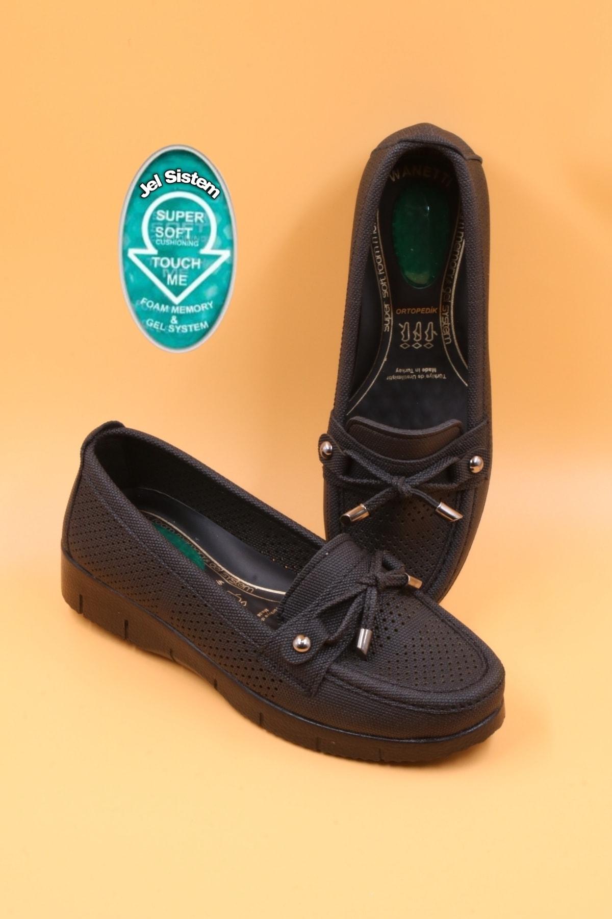 Kadın Siyah Babet Ortopedik Jel Taban Günlük Ayakkabı