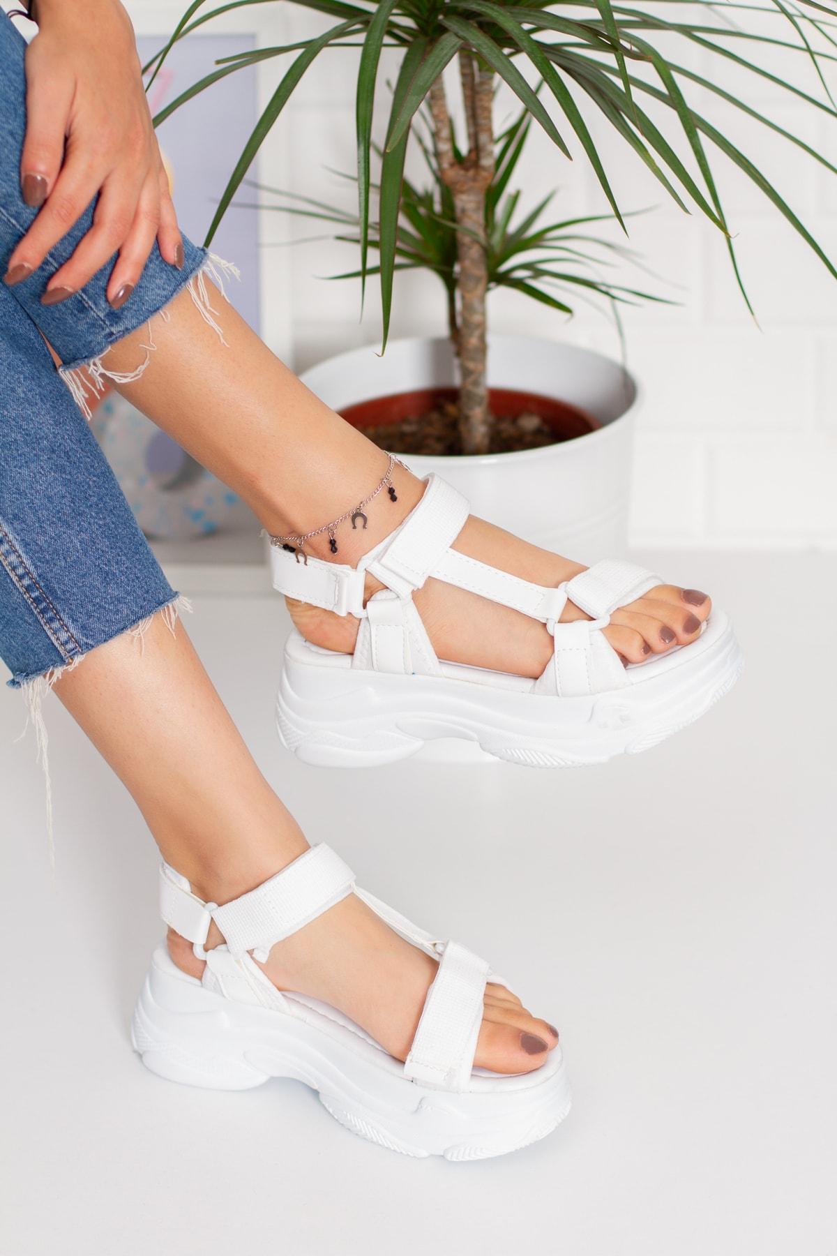 Beyaz Yüksek Taban Cırt Cırtlı Sandalet(ayakabbı Terlik Shoes)
