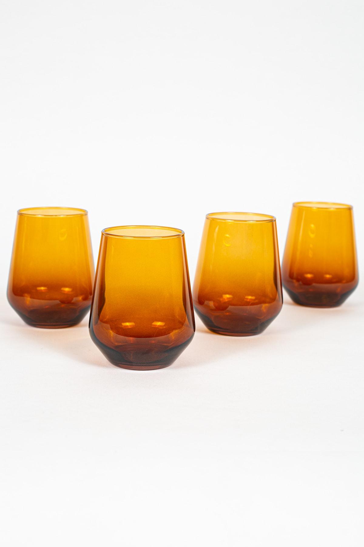 New Iconic 4'lü Su Bardağı Seti Amber 425 Cc