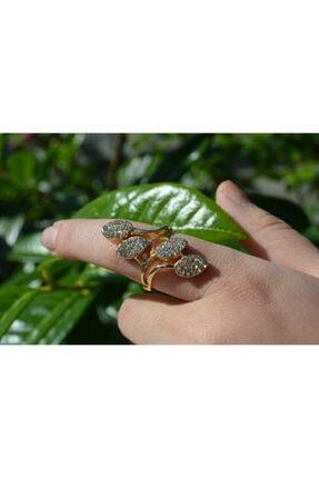 Yaprak Ağaç Yüzük Kadın Eklem Yüzük Altın Zirkon YLDZ0214
