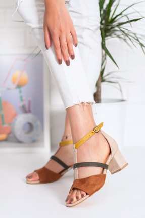Snowberry Diana Topuklu Süet Sandalet Renkli 2