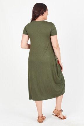 Womenice Kadın Haki Önü Üçgen Püsküllü Büyük Beden Elbise 2