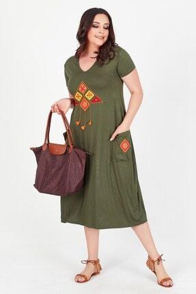Womenice Kadın Haki Önü Üçgen Püsküllü Büyük Beden Elbise 4