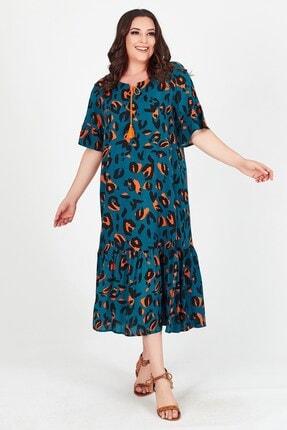 Womenice Kadın Yeşil Baskılı Yakası Bağalamalı Büyük Beden Elbise 2