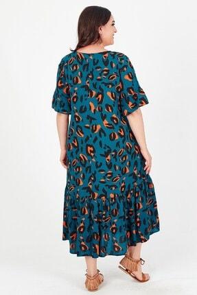 Womenice Kadın Yeşil Baskılı Yakası Bağalamalı Büyük Beden Elbise 3