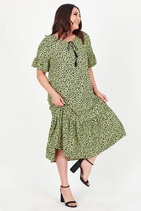 Womenice Kadın Yeşil Yakası Bağlamalı Leopar Desenli Büyük Beden Elbise 4