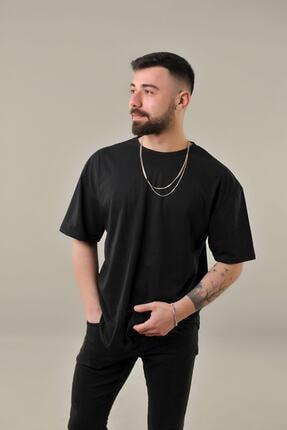 SKYBEAR Erkek Siyah Oval Kesim Oversize T-shirt 1