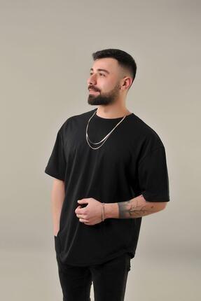 SKYBEAR Erkek Siyah Oval Kesim Oversize T-shirt 2