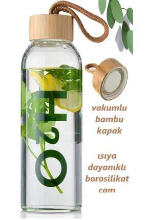 Tohana H2o Borosilikat Cam Matara Bambu Vakum Kapaklı Su Şişesi Suluk 2