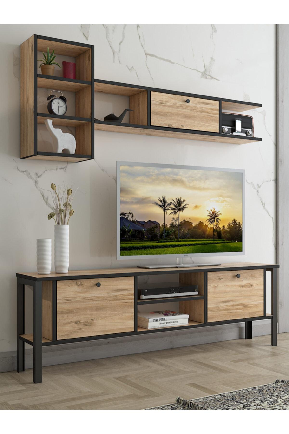 Wood'n Love Enta Duvar Raflı Kitaplıklı Metal Ayaklı Tv Ünitesi - Atlantik Çam / Siyah
