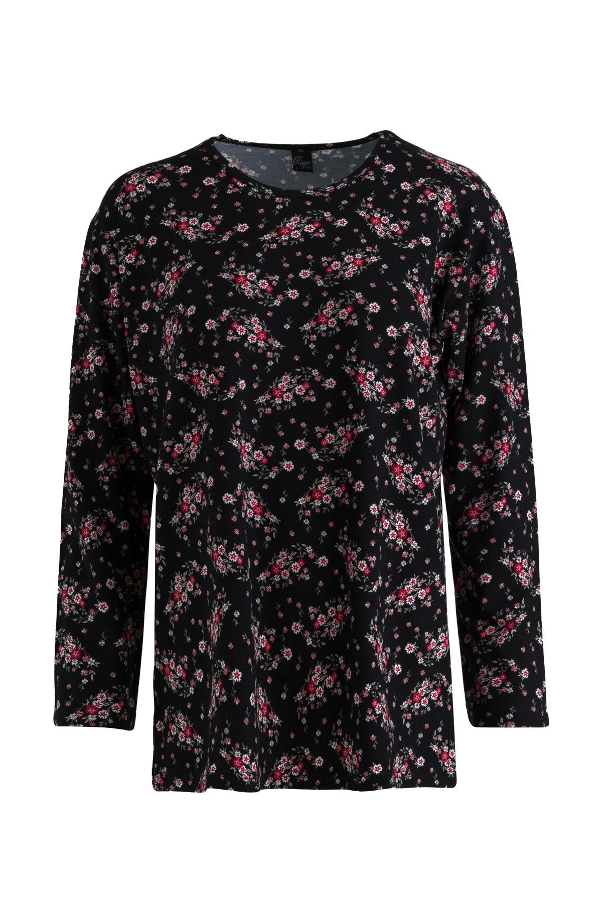 Büyük Beden Çizgili Çiçek Kaplamalı Anne Penye Bluz