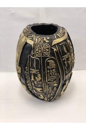Dekoratıf Antık Mısırlı Siyah Altın Vazo 41x28cm TALYA-2029510