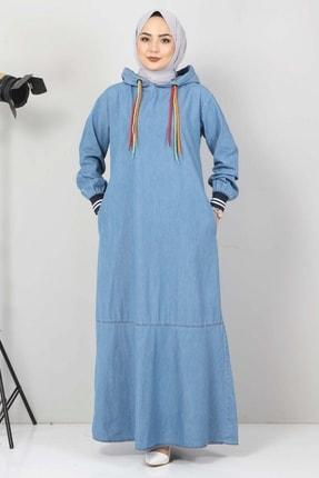 تصویر از Bağcık Detaylı Kapşonlu Kot Elbise Tsd1431 Açık Mavi