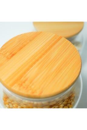GÖNÜL 6'lı Bambu Kapaklı Kavanoz -baharatlık Cam Kavanoz 800ml 2