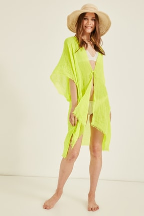 Y-London Kadın Neon Yeşil Pareo 13479-2 1