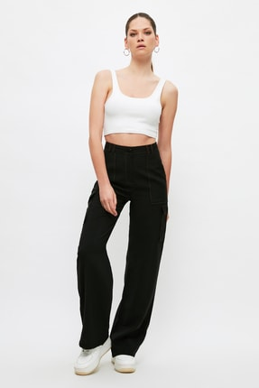 TRENDYOLMİLLA Siyah Cep Detaylı Pantolon TWOSS21PL0288 0