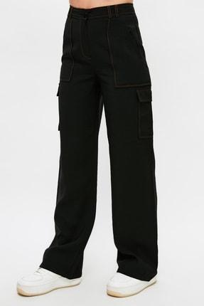 TRENDYOLMİLLA Siyah Cep Detaylı Pantolon TWOSS21PL0288 4