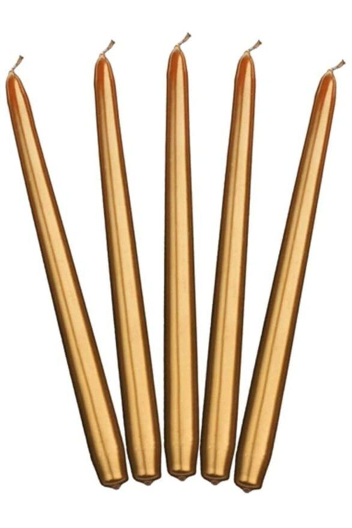 Şamdan Mum - Metalik Altın 4'lü Paket