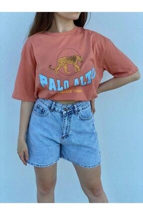 Tuğbanın Butiği Kadın Palo Alto Baskılı Mercan Renk T-shirt 2
