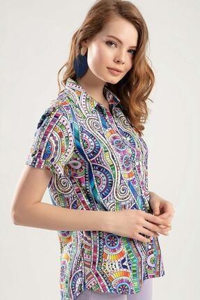 Pattaya Kadın Çok Renkli Dijital Baskılı Duble Kol Gömlek PTTY20S-364 1