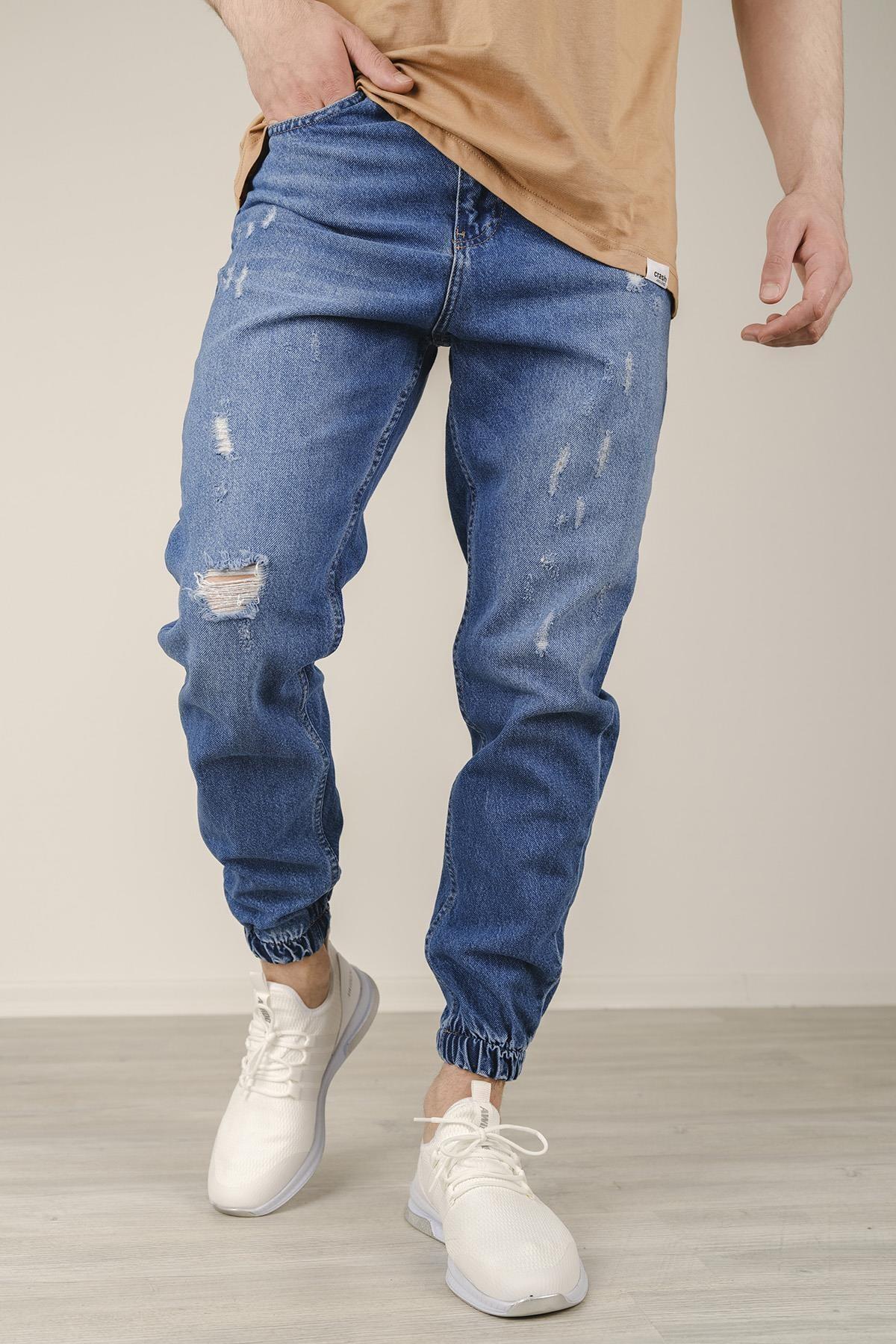 Reax 7003 Yırtıklı Paçası Lastikli Slim Fit Erkek Jean Pantolon