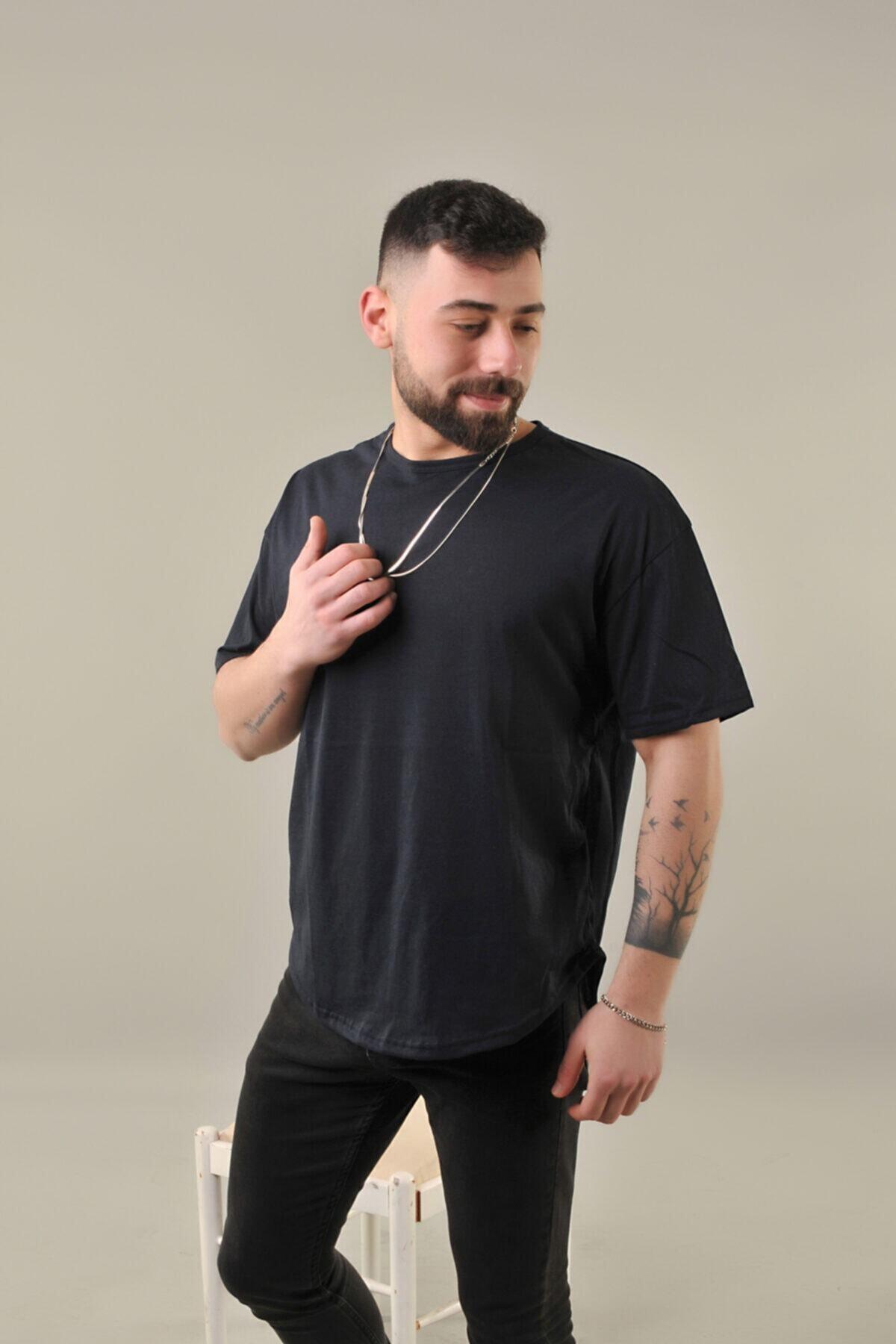 Erkek Lacivert Oval Kesim Oversize Kısa Kol T-shirt