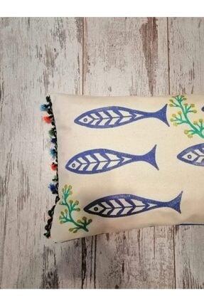 heybelioda Keten Marin Deniz Temalı Balık Desen Kalıp Baskı El Boyama Dekoratif Yastık Kırlent Kılıfı 1