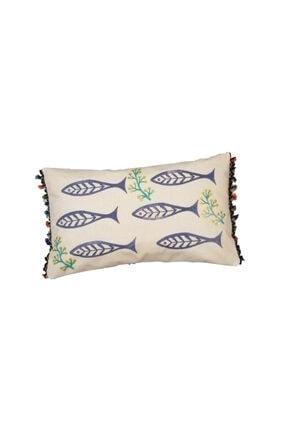 heybelioda Keten Marin Deniz Temalı Balık Desen Kalıp Baskı El Boyama Dekoratif Yastık Kırlent Kılıfı 4