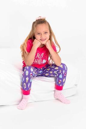 Picture of 2430 Kız Çocuk Just Chill Fuşya Kısa Kol Pijama Takımı