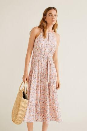 Picture of Kırık Beyaz Çiçekli Elbise (Astarsız)