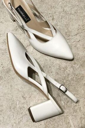 Kadın Beyaz Hakiki Deri 35-41 Numara Topuklu Ayakkabı 000780.1SİYAH