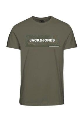 Jack & Jones Erkek Haki Baskılı T-Shirt 12188029 0