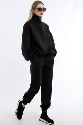Dreamlike Kadın Siyah Özel Tasarım Beli Büzgülü Jogger Eşofman Altı Drlk-0077 1