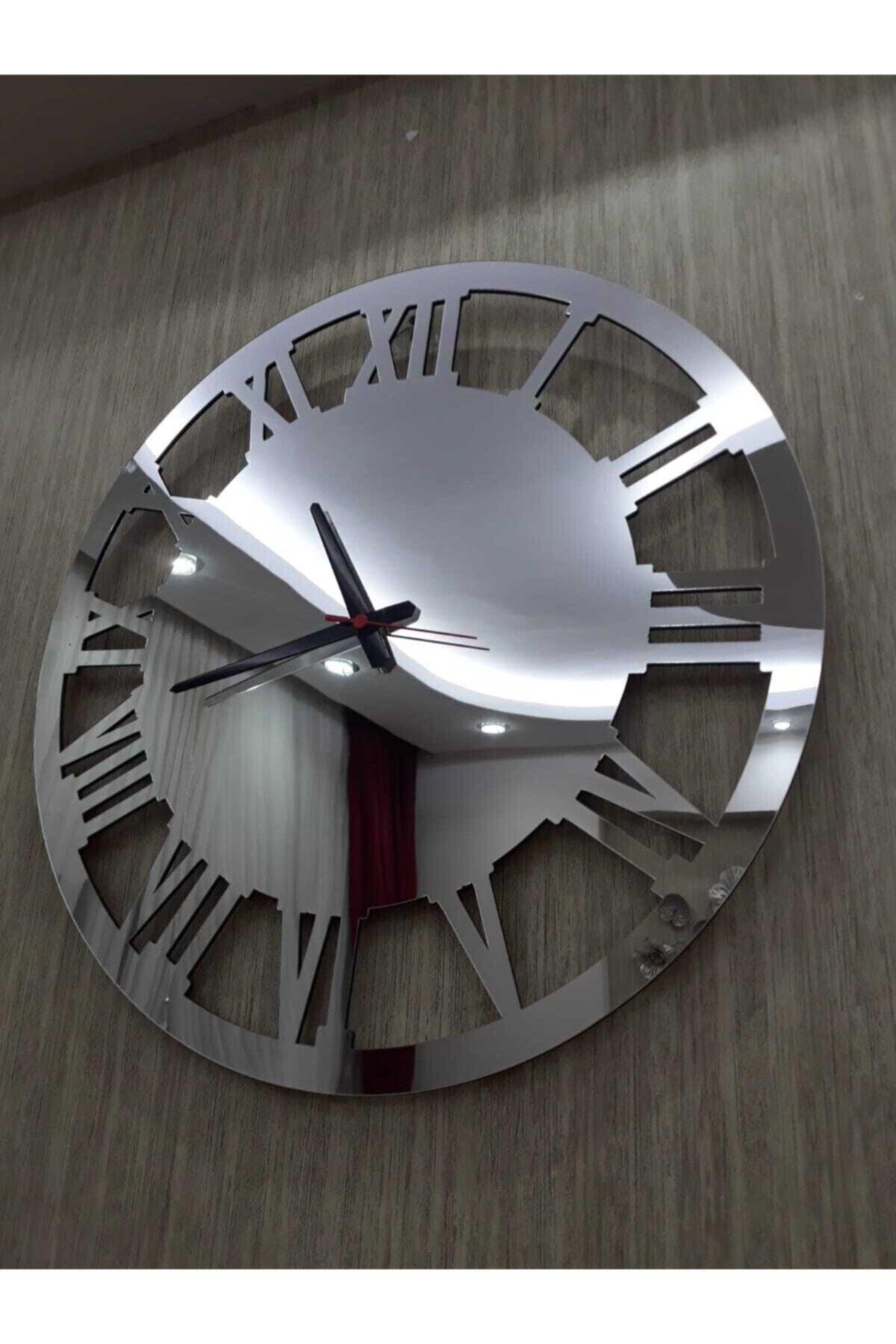 Gümüş 50x50 cm Duvar Saati Büyük Yuvarlak Aynalı Pleksi Dekoratif Ofis Ev Saati
