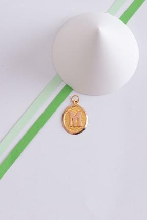 Bayar Gold 14 Ayar Altın M Harfli Vintage Oval Kolye Ucu 1