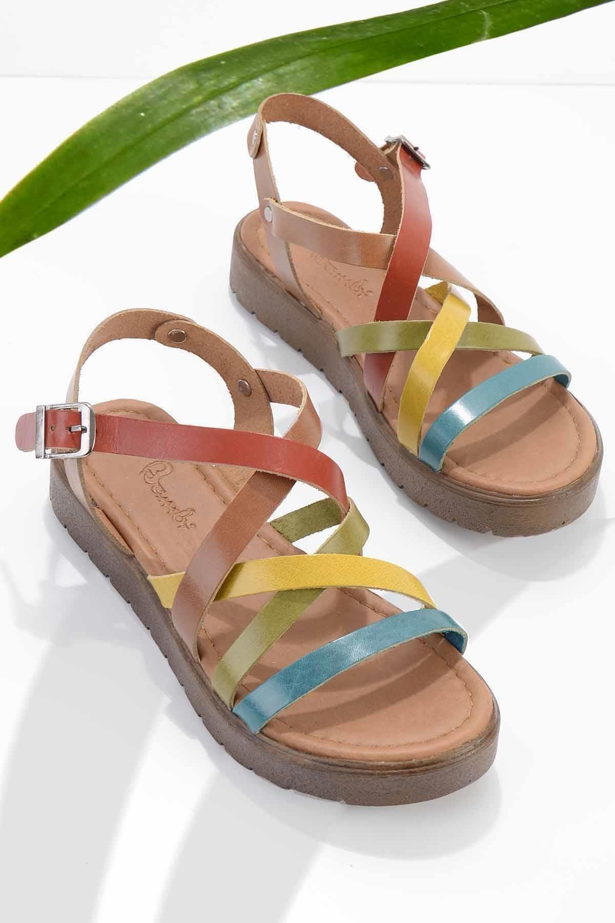 Çok Renkli Hakiki Deri Kadın Sandalet K05826001103