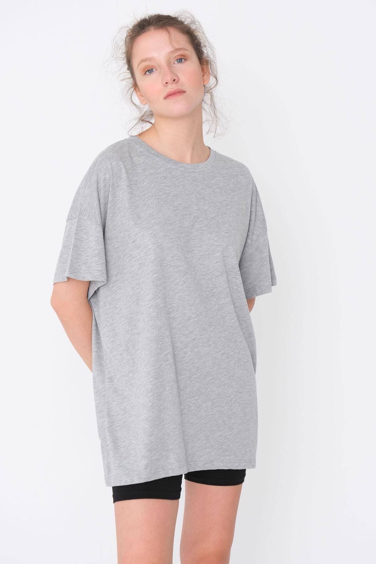 Kadın Gri Basic T-Shirt P0337 - T11 Adx-0000021644