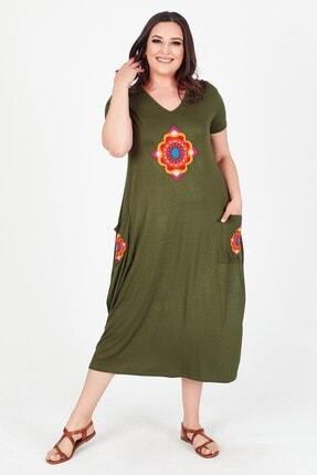 Womenice Kadın Haki V Yaka Önü Cebi Nakışlı Büyük Beden Elbise 1