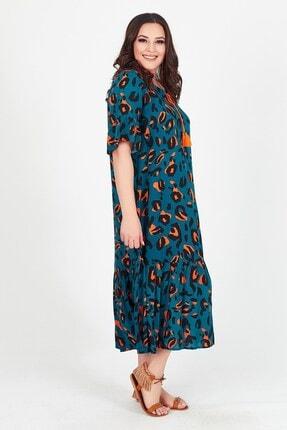 Womenice Kadın Yeşil Baskılı Yakası Bağalamalı Büyük Beden Elbise 1