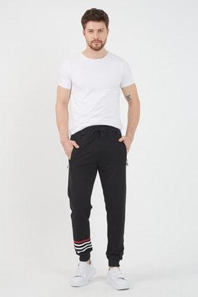 COMEOR Siyah Erkek Mevsimlik Kumaş Baskılı Cep Detaylı Beli Paçası Lastikli Eşofman Altı 0