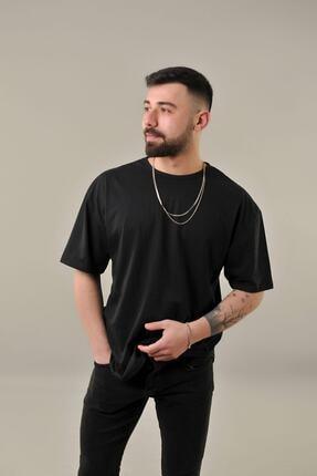 SKYBEAR Erkek Siyah Oval Kesim Oversize T-shirt 0
