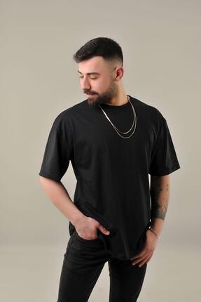 SKYBEAR Erkek Siyah Oval Kesim Oversize T-shirt 4